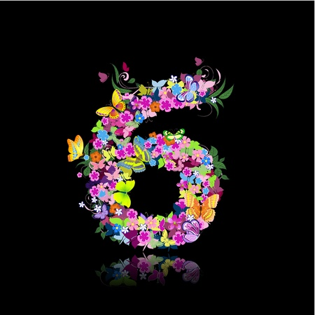 number of animals: letter of flowers and butterflies figures