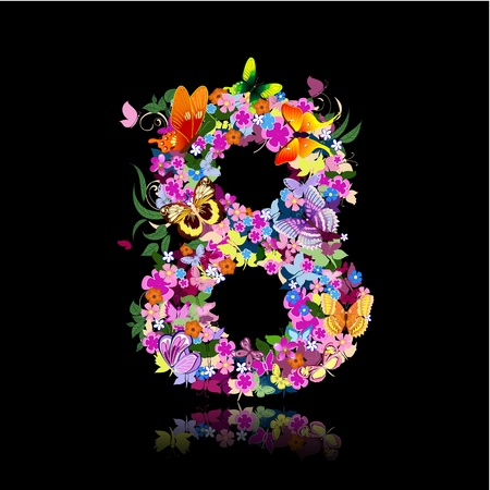 typographic: letter of flowers and butterflies figures
