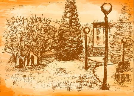 drawing spring park grunge Vector