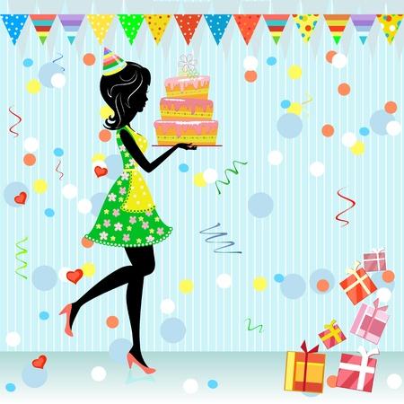 invito compleanno: festa di compleanno con doni di divertimento Vettoriali