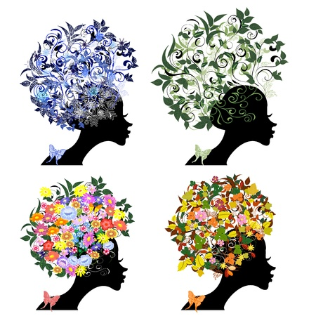 vintage floral hairstyle seasons Stock Vector - 9663886
