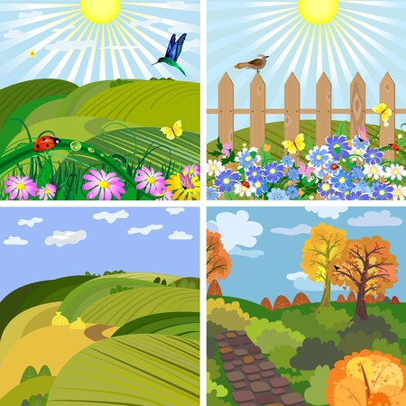 seasonal landscape park and the hills Vector