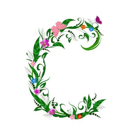 flower alphabet: Cover letter flower c