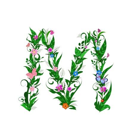 flower alphabet: Cover letter flower Illustration