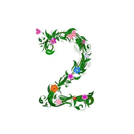 Flower number of butterflies Vector