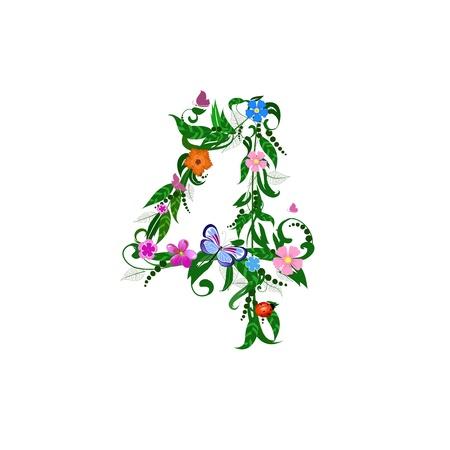 Flower number of butterflies Stock Vector - 9829065