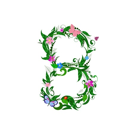 Flower number of butterflies Stock Vector - 9829071