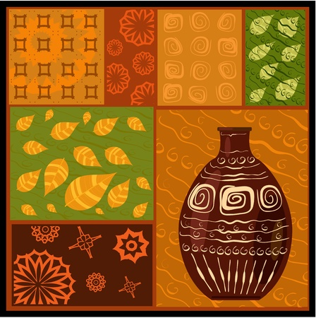 ethnic mix: African abstract pattern with a vase Illustration
