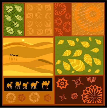 ethnic mix: African abstract ornament with camels