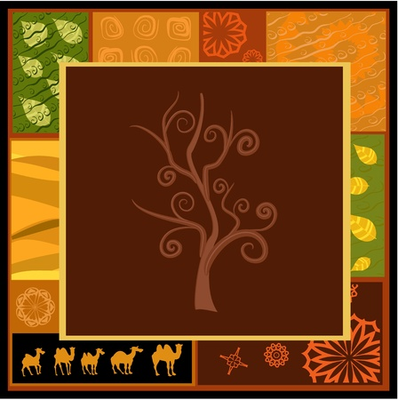 African tree ornament with camels Vector