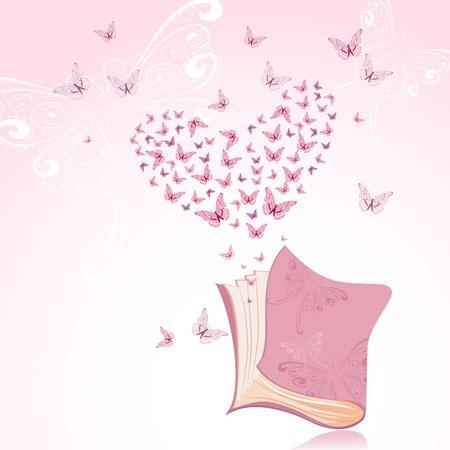 libro caricatura: Libro con mariposas rosas