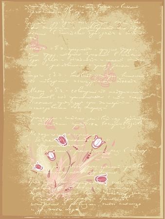 grunge letter of flowers Stock Vector - 9829090