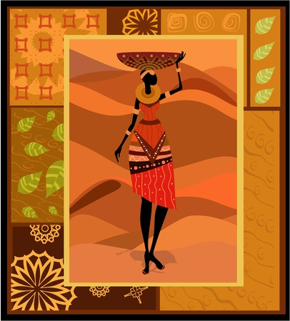 pottery: African woman ornament Illustration