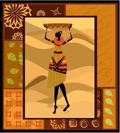 femme africaine: Ornement de la femme africaine Illustration