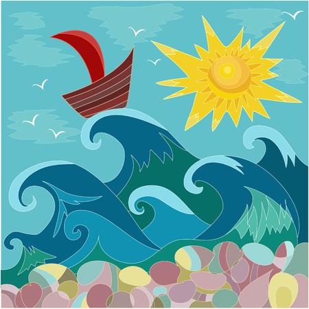 sea sun boat Stock Vector - 9829073