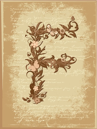 Floral letter on paper grunge Stock Vector - 9851496