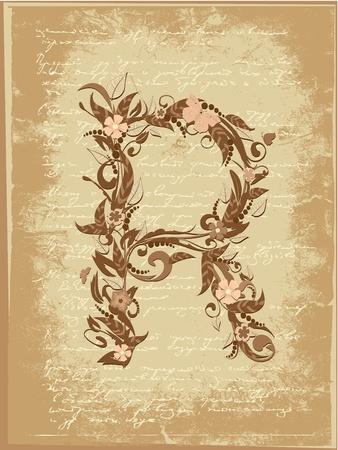 Floral letter on paper grunge Vector