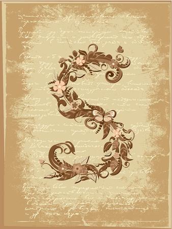 old victorian letter: Floral letter on paper grunge