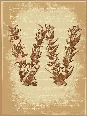 Floral letter on paper grunge Stock Vector - 9851514