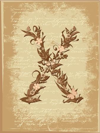 Floral letter on paper grunge Stock Vector - 9851499