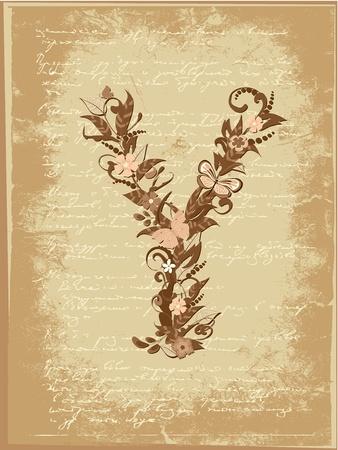 Floral letter on paper grunge Stock Vector - 9851494