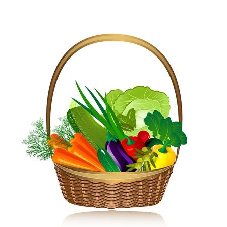 canastas con frutas: cesta de verduras Vectores