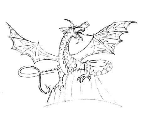 dragon sketch Vector