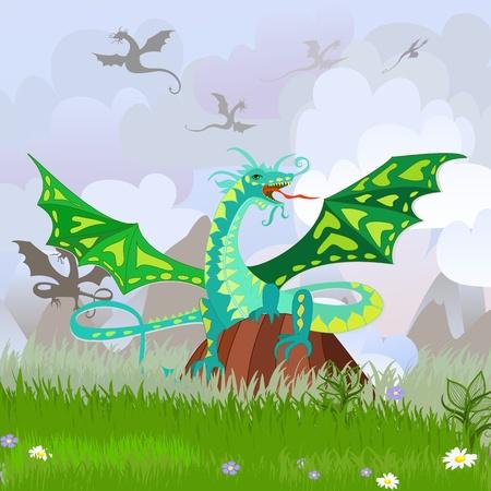 dangerous: green dragon on the rock landscape