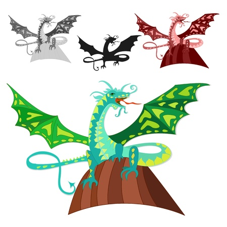 dragon on the rock Vector