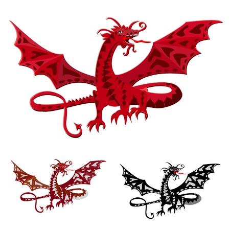dragon rouge: dragon rouge avec des ailes Illustration