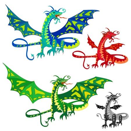 Dragón con alas Ilustración de vector