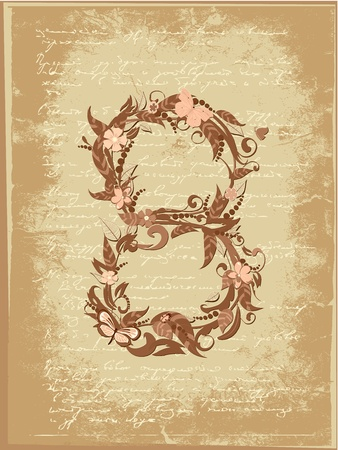 Flower number on grunge Vector