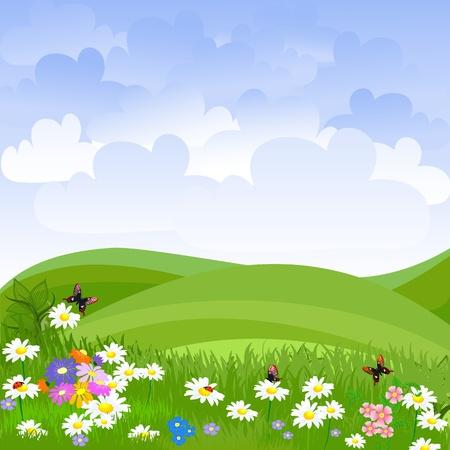 zomertuin: landschap gazon bloemen Stock Illustratie