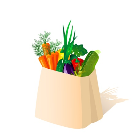 carrot juice: package of vegetables Illustration