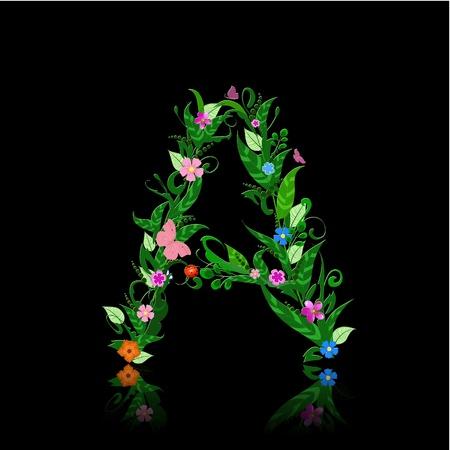 letter of romantic flowers Vector