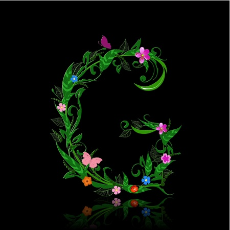 letter of romantic flowers Vector