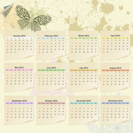 Calendar for 2012 Stock Vector - 10047576