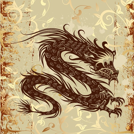 ancient japanese: dragon on paper grunge