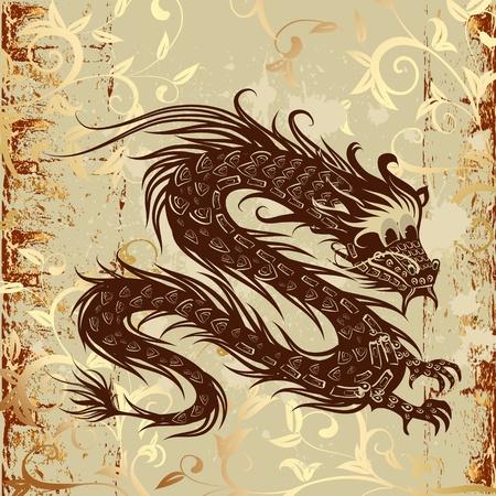 japanese symbol: dragon on paper grunge