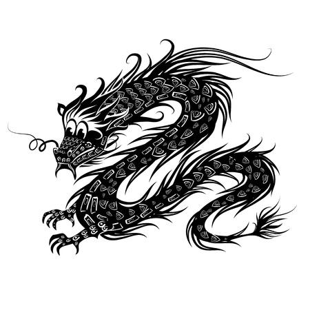Black Chinese Dragon Vector