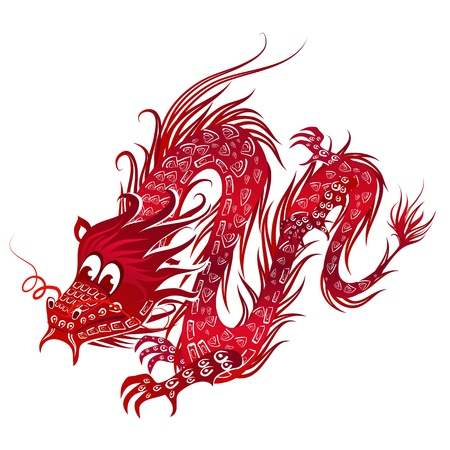 eastern zodiac: Red Chinese Dragon