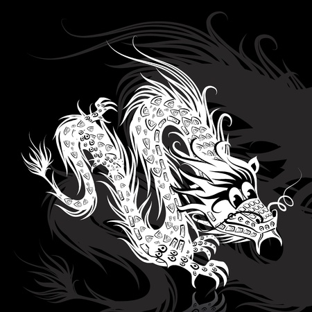 White Chinese dragon Vector