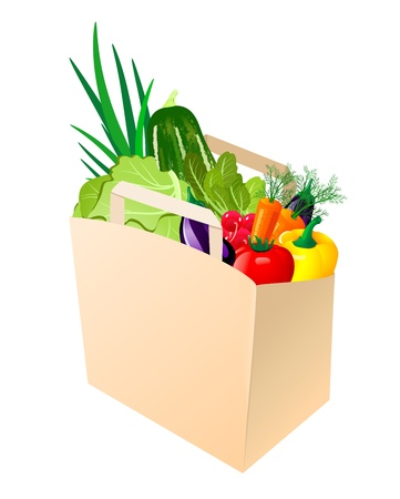 nutrition icon: paper bag with fresh vegetables