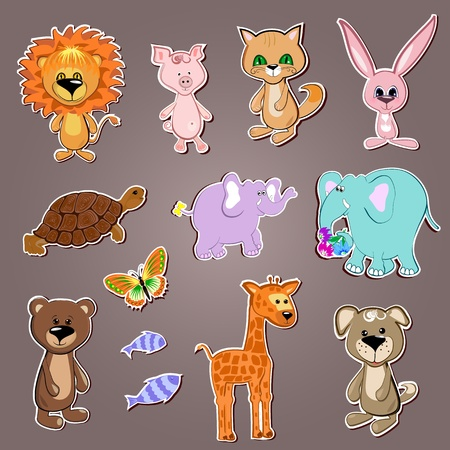 Funny animals collection Stock Vector - 10082034