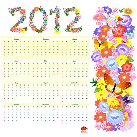 Flower Calendar for 2012 Vector