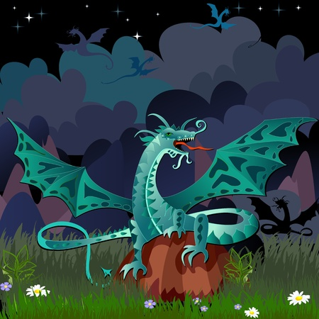 dragon in the night landscape Vector