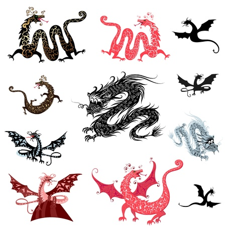 set decoration of dragons Vector