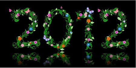 number of flowers per year 2012 Vector