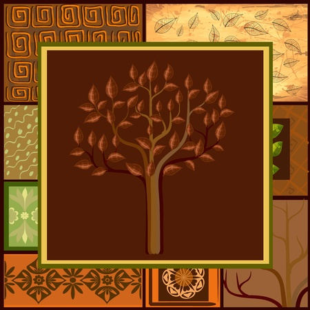 ethnic mix: Tree Mix African backgrounds Illustration