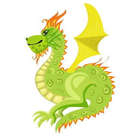Green dragon with wings Vector